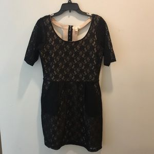 Boutique dress with black lace overlay